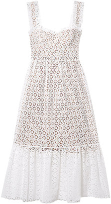 Michael Kors Collection Broderie Anglaise Cotton Midi Dress