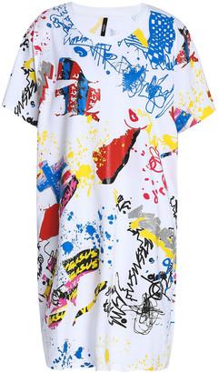 Versace Glittered Printed Cotton-jersey Mini Dress