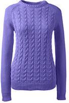 Lands' End Women's Tall Drifter Cable Sweater-Flower Purple