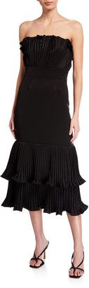 Mestiza New York Pericon Strapless Pleated Ruffle-Hem Midi Dress