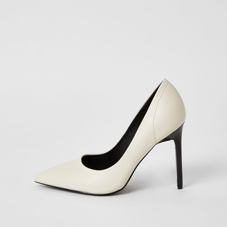 River Island White wide fit court shoes