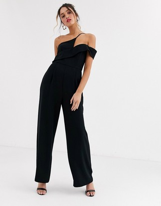 Forever New cut out wide leg jumpsuit in black