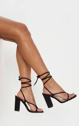 PrettyLittleThing Black Ghillie Lace Up Block Heel Sandal