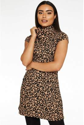 Quiz Brown and Black Knit Leopard Print Cowl Neck Tunic Dress