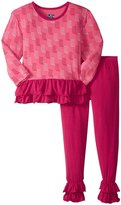 Kickee Pants Double Ruffle Outfit Set (Toddler) - Winter Rose - 2T