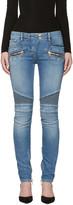 Balmain Blue Skinny Vintage Biker Jeans