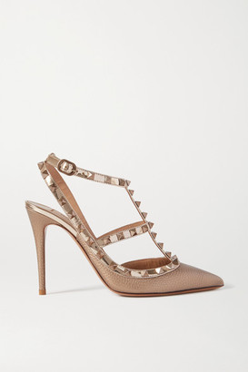 Valentino Garavani Rockstud 105 Metallic Textured-leather Pumps - Gold