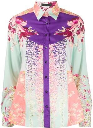 Etro Floral Print Colour Block Shirt