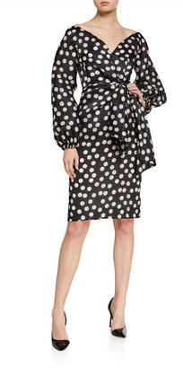 Carolina Herrera Polka-Dot Organza Puff-Sleeve Dress