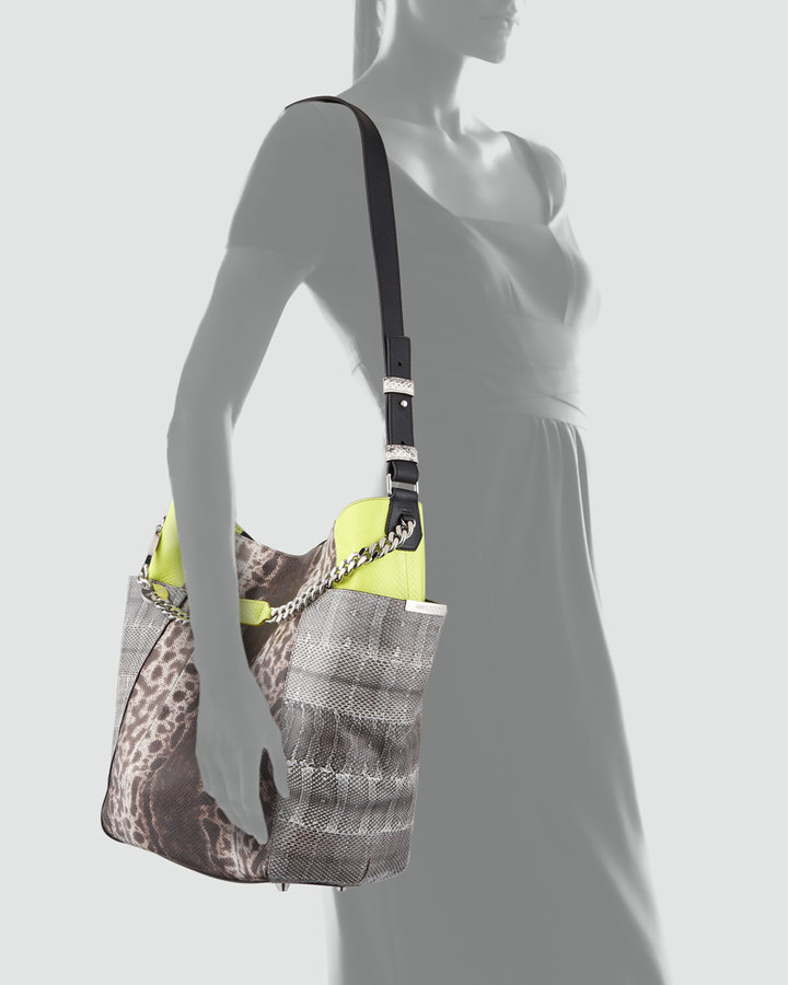 Jimmy Choo Anna Snakeskin Tote Bag, Multicolor