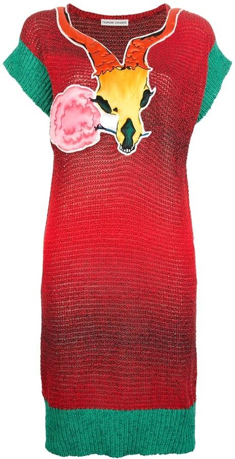 Tsumori Chisato antler skull printed dress