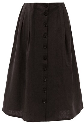 Art School Nurse Pleated Linen Skirt - Black