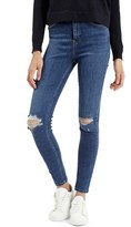 Topshop Women's 'Jamie' Ripped High Rise Ankle Skinny Jeans