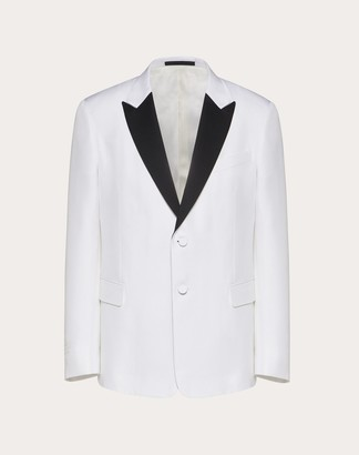 Valentino Uomo On Love Formal Jacket Man Ivory/black Silk 100% 44