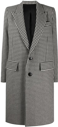 Ami Single-Breasted Houndstooth Coat