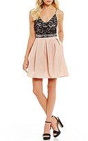 I.N. San Francisco Lace Bodice Satin Skirt Party Dress
