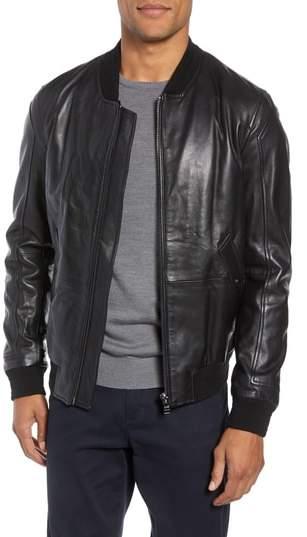 BOSS Arinos Leather Bomber Jacket