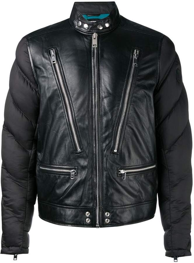 Diesel padded sleeve leather jacket
