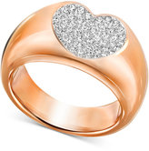 Swarovski Rose Gold-Tone Crystal Pavé Heart Ring
