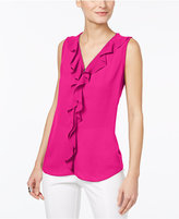 INC International Concepts Petite Ruffled Zipper Top, Only at Macy's