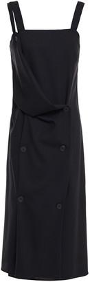 McQ Satin-paneled Draped Wool Dress