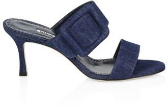 Manolo Blahnik Gable Denim Mule Sandals