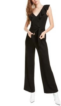Bebe Ruffled Glitter Straight-Leg Jumpsuit