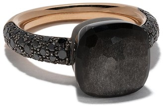 Pomellato 18kt rose gold and titanium Nudo obsidian and black diamond ring