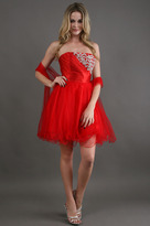 Scala Short Satin Embroidered Bust in Red