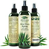 Green Leaf Naturals Organic Aloe Vera Gel Moisturizer Spray for Skin, Hair, Face and Sunburn Relief - Unscented, 8 Ounces