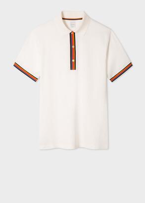 Paul Smith Men's Slim-Fit White Cotton-Pique Polo Shirt With 'Artist Stripe' Details
