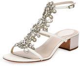 Rene Caovilla Jeweled Snakeskin T-Strap Sandal, White