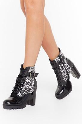 Nasty Gal Womens Hey Cheetah Heeled Hiker Boots - Black - 3