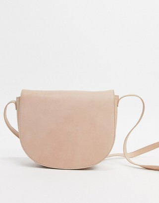 Urban Code Urbancode real leather saddle cross body bag-Beige