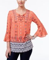 Style&Co. Style & Co Lace Up Peasant Top, Only at Macy's