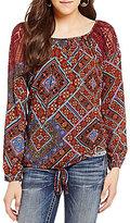 Miss Me Crochet Detail Printed Tie-Front Peasant Top
