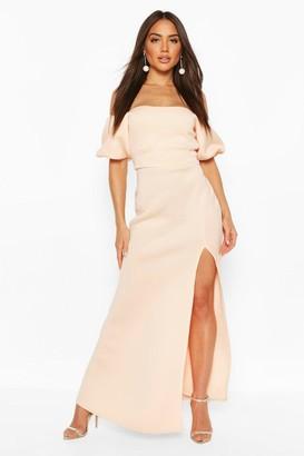 boohoo Puff Ball Sleeve Fishtail Maxi Dress