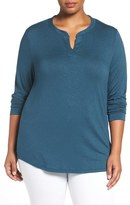 Sejour Split Neck Long Sleeve Tee (Plus Size)