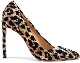 Francesco Russo Velvet Leopard Pumps in Natural | FWRD