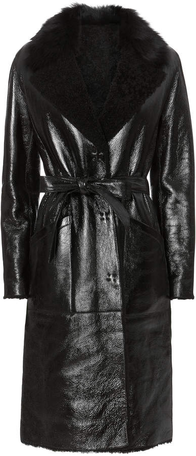 Yves Salomon Patent Shearling Black Trench