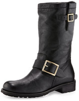 Jimmy Choo Biker Fur-Lined Lambskin Boot, Black