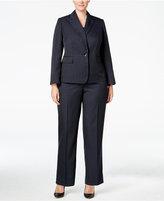 Le Suit Plus Size Two-Piece One-Button Pinstriped Pantsuit
