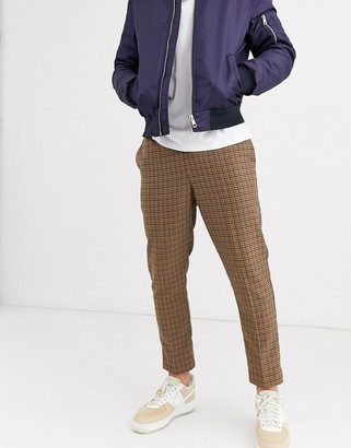 New Look slim crop mini check trouser in tan