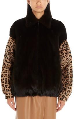 Simonetta Ravizza Leopard Print Reversible Bomber Jacket