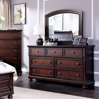 Furniture of America Boeh Transitional Cherry Dresser and Mirror Set
