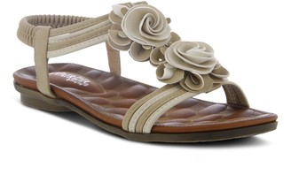 Patrizia by Spring Step Floral T-Strap Sandals- Nectarine