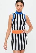 Missguided Black Contrast Stripe Sleeveless Crop Top