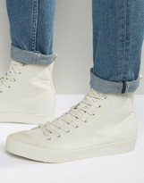 Asos High Top Trainers In Grey With Rubber Panels