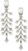 Oscar de la Renta Pearly Crystal Baguette Leaf Drop Earrings