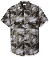 Calvin Klein Men's Micro Square Print Short Sleeve Button Down Shirt